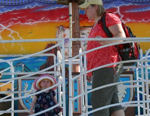 Checking out the Pirate Ship ride